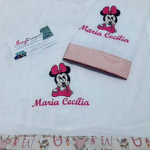 Fralda Bordada Kit Minnie Baby