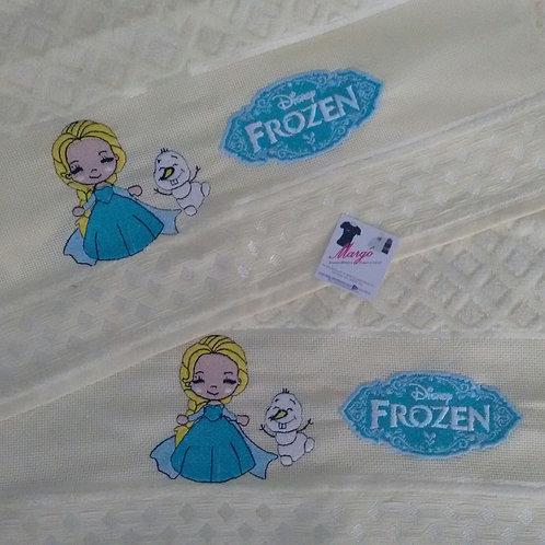 Toalha de Banho Bordada e Rosto Frozen Baby