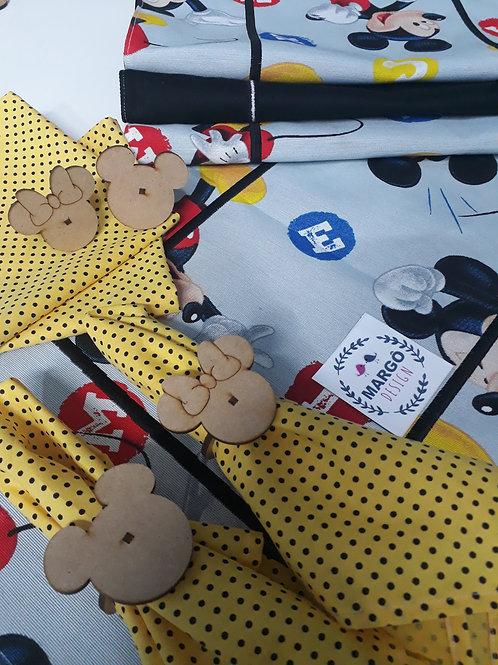 Kit Jogo Americano 8 Lugares Mickey e Minnie