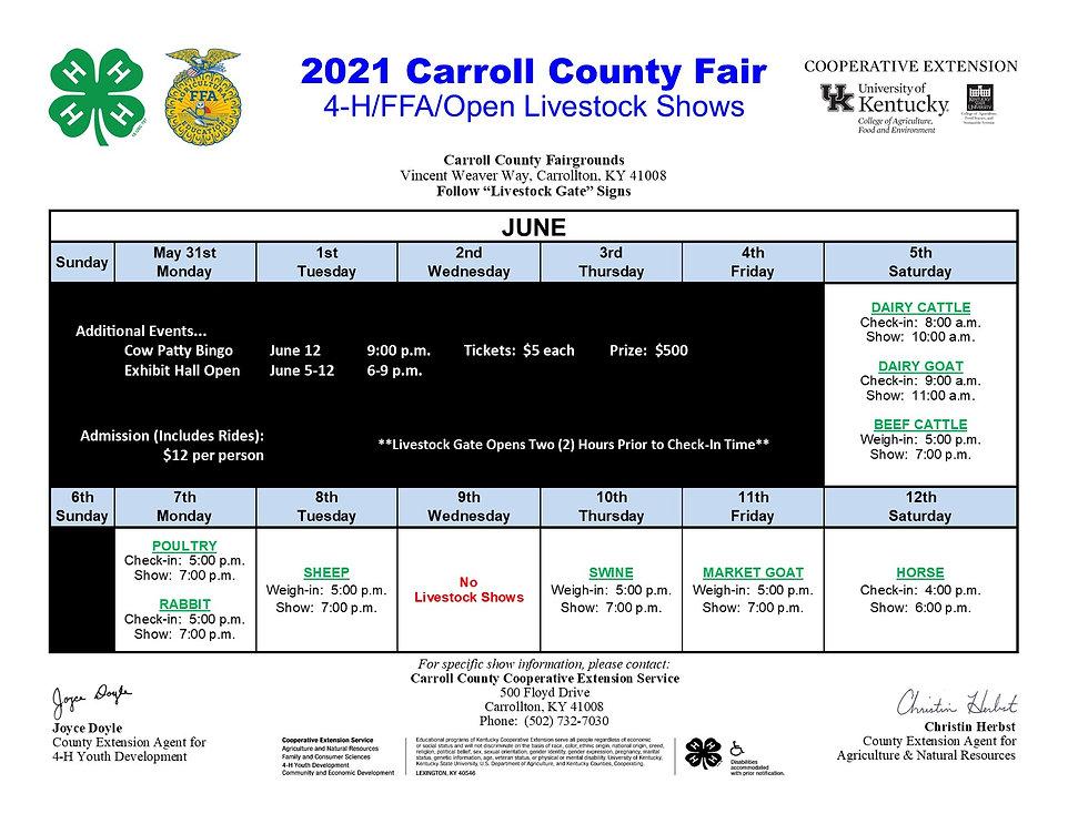 Carroll Livestock Show Schedule 2021 JPE