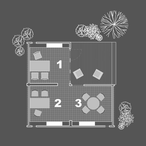 This option shows 3 connected units to create 2 offices and a meeting space.
