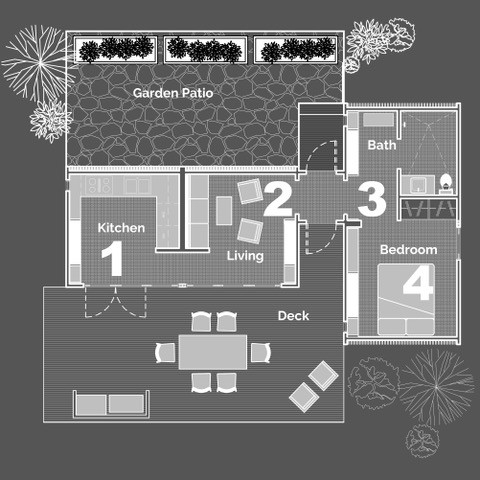 This option shows 4 connected units to create a small carriage house or cottage.