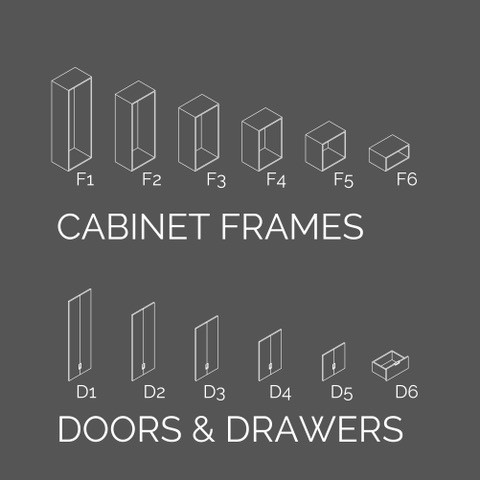 Choose from a range of modular cabinet frames and fit with corresponding doors and drawers to create your own open or closed storage solutions.