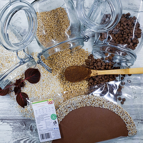 Oblea rellena de chocolate y cubierta con amaranto tostado 3 piezas
