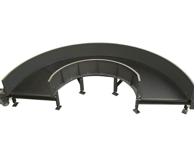 Curved Belt Conveyor for Baggage Handling BHS - 180 degrees -  airportconveyors.eu