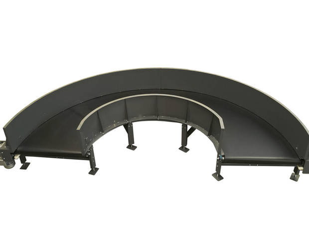 Curved Belt Conveyor for Baggage Handling BHS - 180 degrees -  airportconveyors.eu