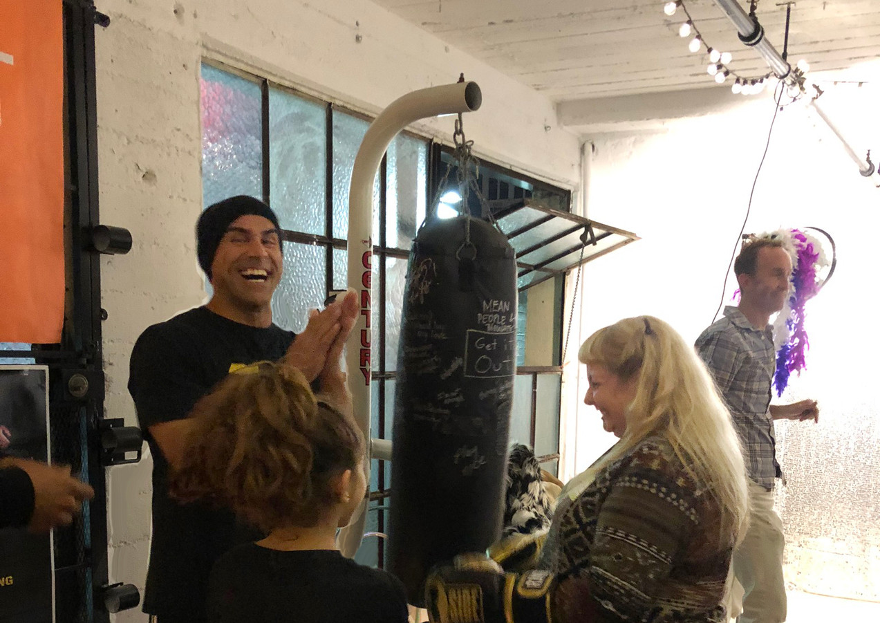 Boxing Coach Laughing with Ladies WBP LA