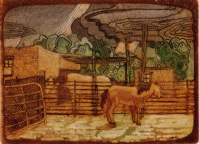 Horses in Rain color 4.5x5.5