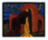 Portale woodcut color on blue 5.5x7.JPG