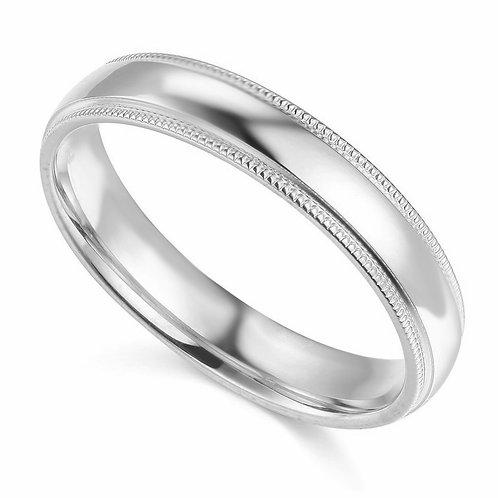 14k  Gold -mm Standard-fit Milgrain and polished Wedding Band