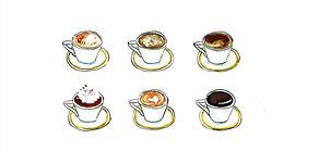 A handdrawn image of six espresso cups