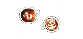 A birdseye view of a capuccino drawn by hand
