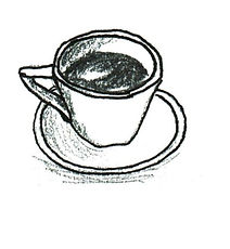 Handdrawn illustration of a coffee cup