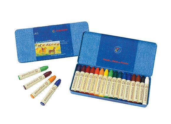 Stockmar Wax Stick Crayons Tin Case - 16 Assorted