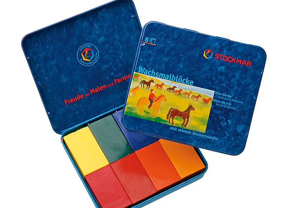 Stockmar Wax Block Crayons Waldorf Tin Case - 8 Assorted
