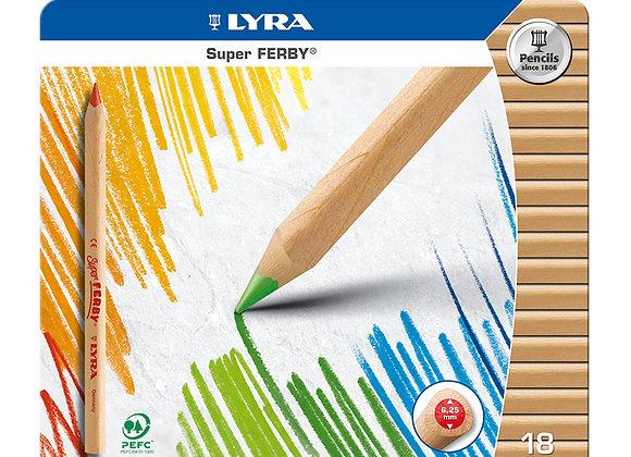 Lyra Pencils Super Ferby Triangular Tin Case - 18 Assorted Colors