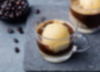 Affogato coffee with ice cream on a glas