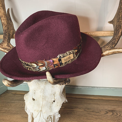 Mulberry Betty Fedora & Game Feather Band