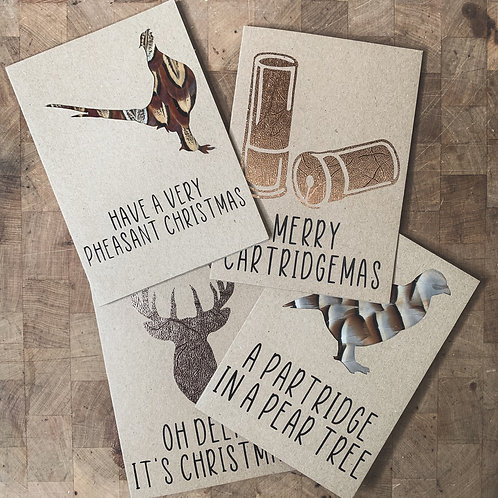 Pack of 4 Country Christmas Cards