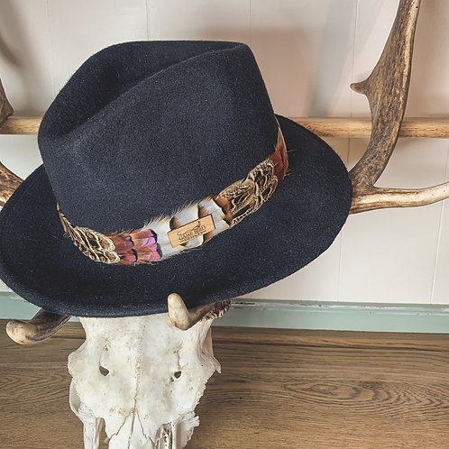 Navy Betty Fedora & Game Feather Band