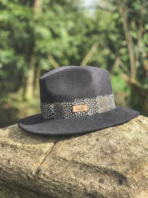 Navy Betty Fedora & Guinea Fowl Feather Band
