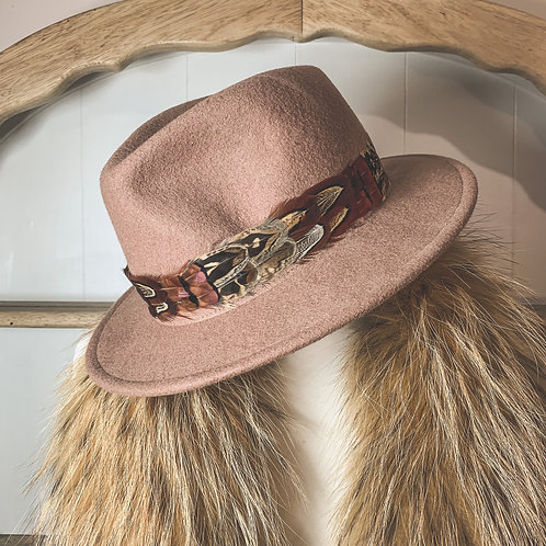 Beige Betty Fedora & Game Feather Band