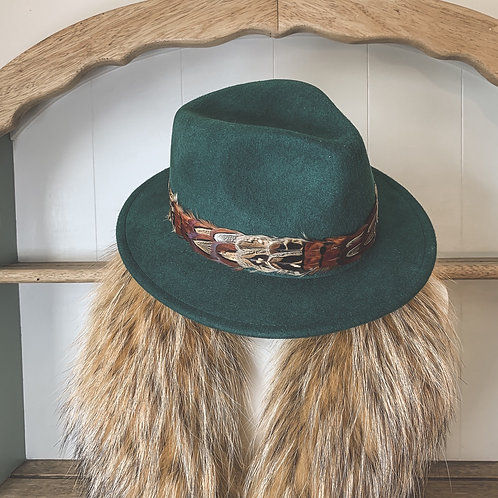 Green Betty Fedora & Game Feather Band