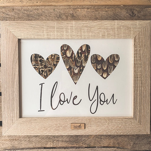 Large I Love You Feather Frame