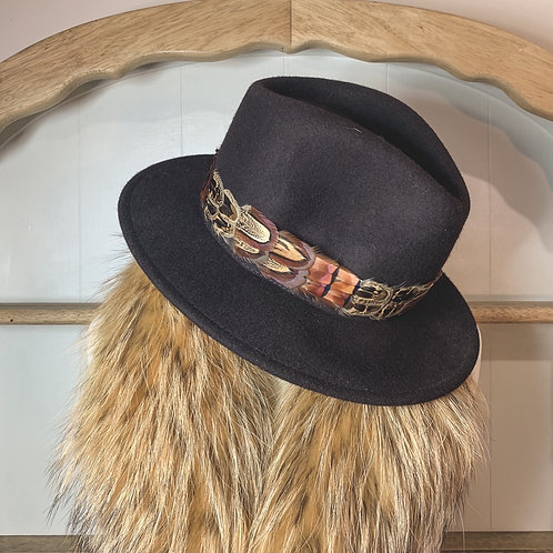 Brown Betty Fedora & Game Feather Band