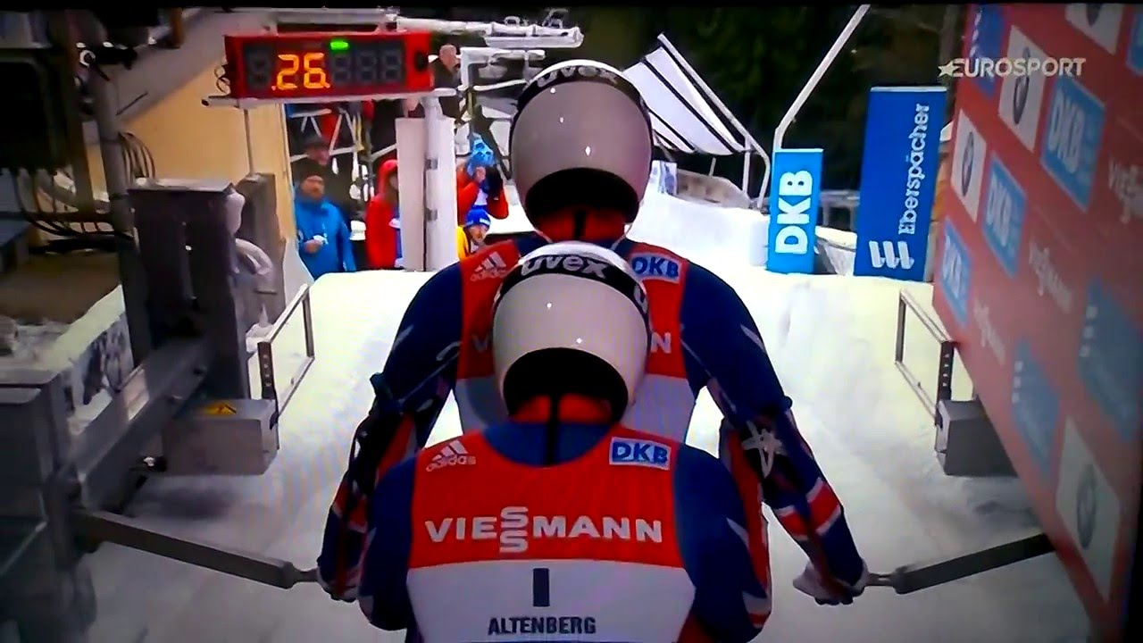 AJ and Ray at the start in Altenberg