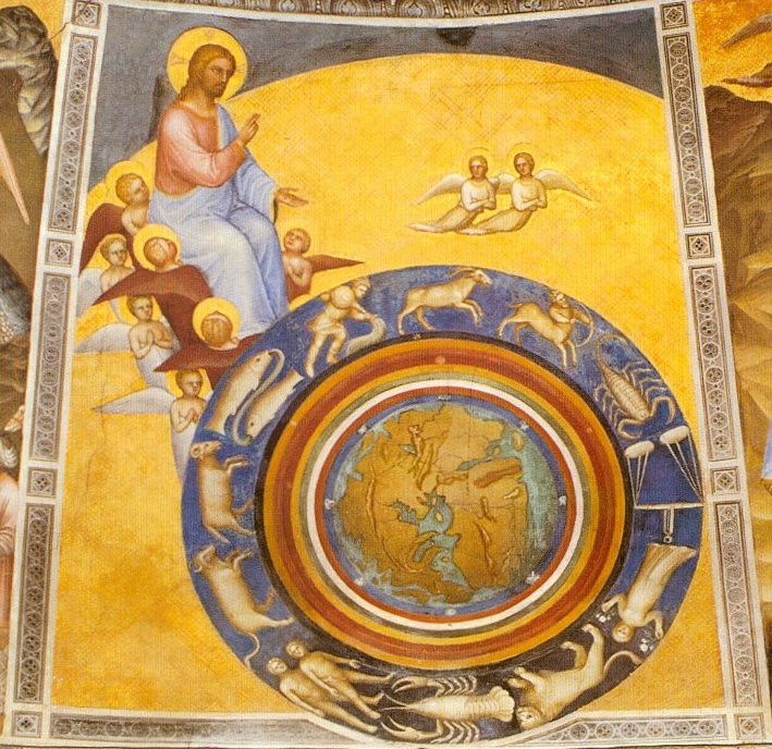 God, with angels in heaven, looks down on the world which is surrounded by the zodiac.