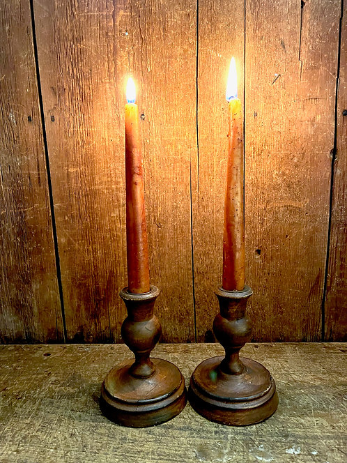 Pair 19th C Wood Candle Sticks