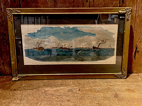 Hand Colored 19th c Marine Engraving