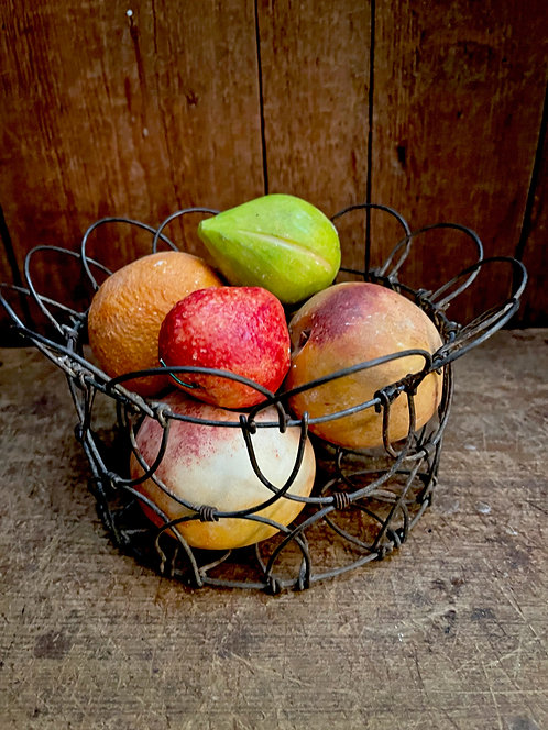 Collection of Stone Fruit in an Early Wire Basket