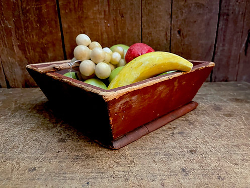 19th C Square Apple Box in Old Red