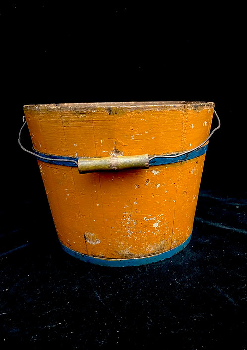 19th C Pumpkin and Blue Staved Bucket