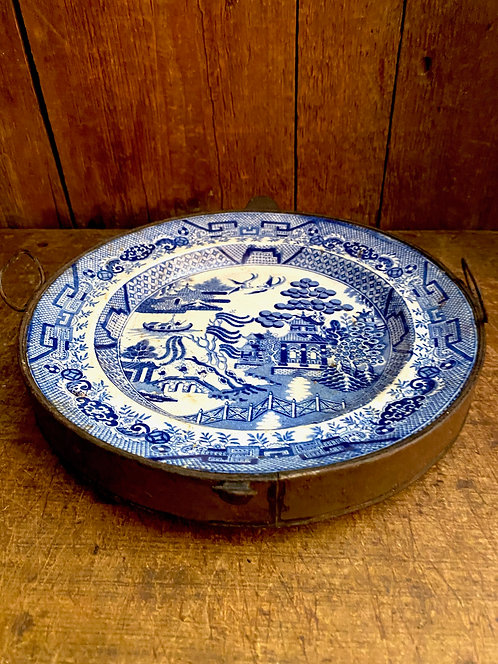 Ca 1840 Blue Willow Warming Plate