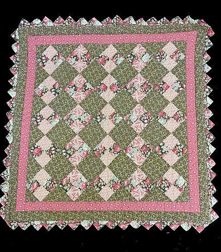 19th C Hand Stitched Fancy Crib Quilt