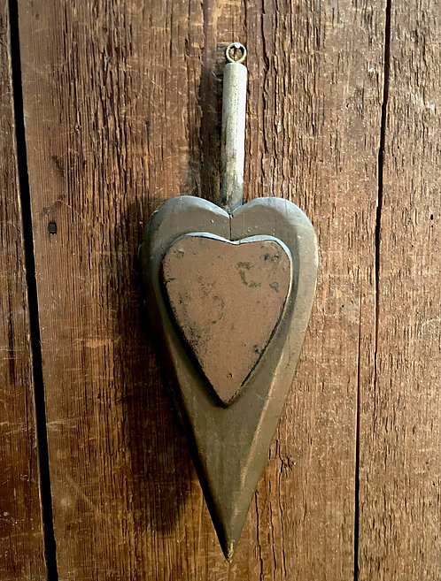 19th C Hand Carved Hanging Heart