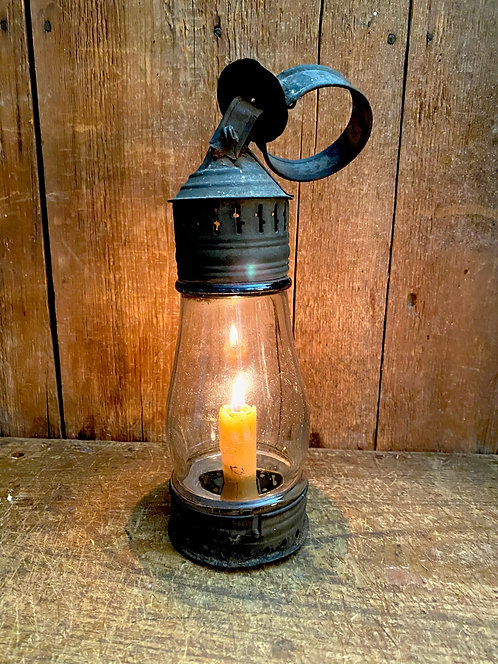 Small 19th C Glass and Punched Tin Candle Lantern