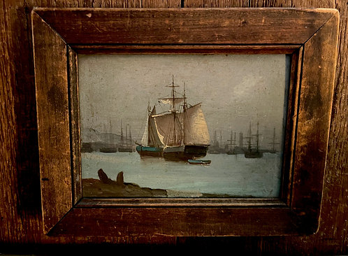 Small 19th Oil Painting of a Sailing Ship