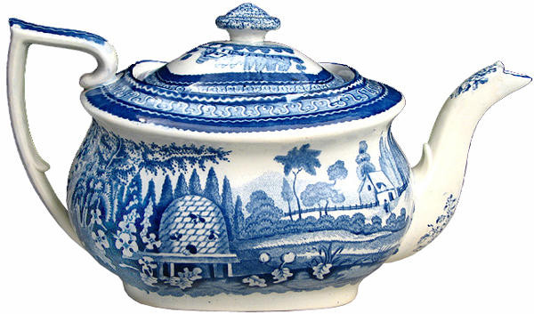19th century blue transfer ware beehive