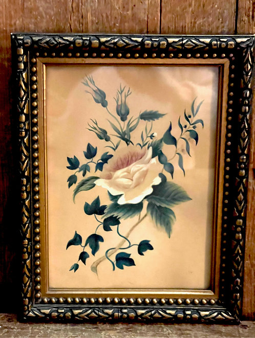 19th C Watercolor Painting of a Yellow Rose