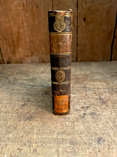 Very Early 1793 Leather Book with Marbelized Covers