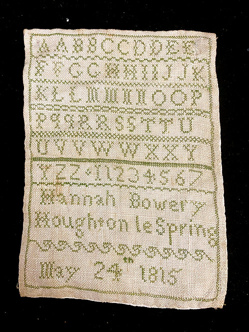 Small 1815 Marking Sampler by Hannah Bowery
