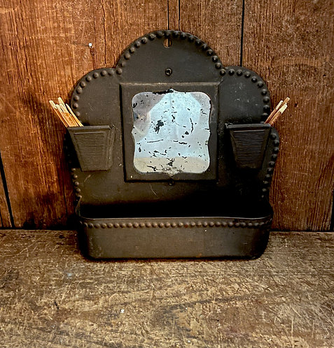 Antique Tin Wall Box Match Safe with Mirror