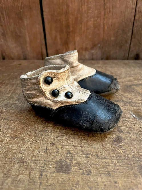 Pair of Button Top Leather Baby Shoes