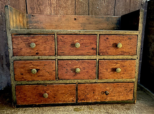 Exceptional 19th C Apothecary Chest, Mustard Paint