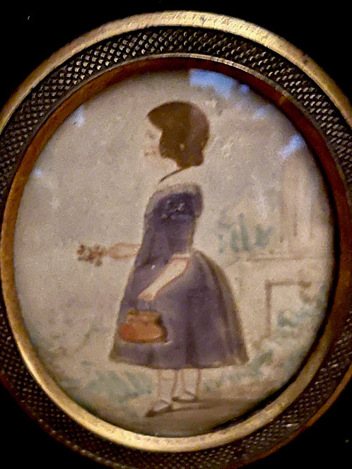 Miniature Watercolor of a Child Holding a Basket