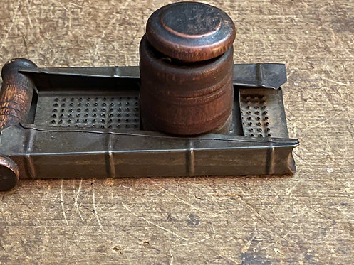 Antique Wood and Metal Nutmeg Grater